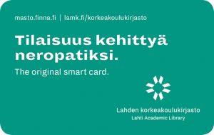 """Kuva vihreästä kirjastokortista, jossa teksti """"Tilaisuus kehittyä neropatiksi"""""""