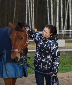 Hevonen ja hoitaja oikealla puolella katsoo hevosta