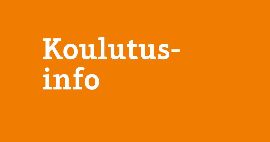 Koulutusinfo teksti oranssilla pohjalla