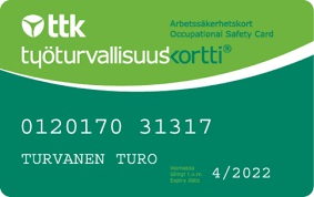 TTK:n työturvallisuuskortti.