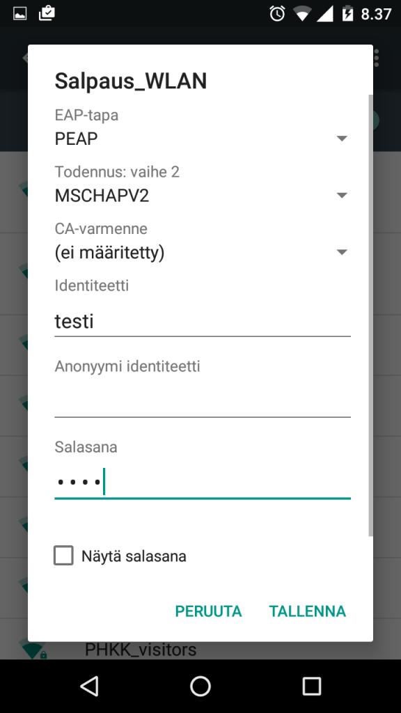 Android wlan EAP-tap PEAP