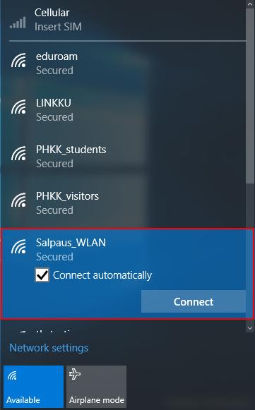 win10 wlan valitse Salpaus_WLAN verkko
