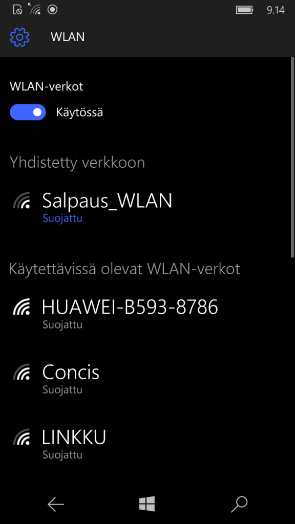 win7/8 phone wlan valmis