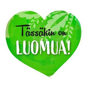 Vihreä sydän, jossa lukee Tässäkin on luomua!