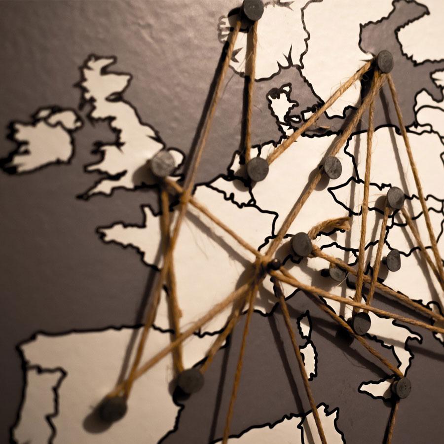 Euroopan kartta, jossa paikkamerkintöjä.