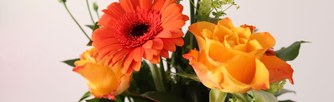 Oranssi-keltaisia kukkia kimpussa.