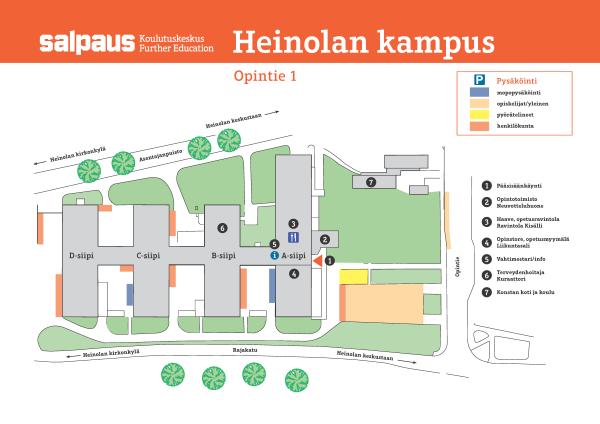 Heinolan kampuksen kartta kuvana.
