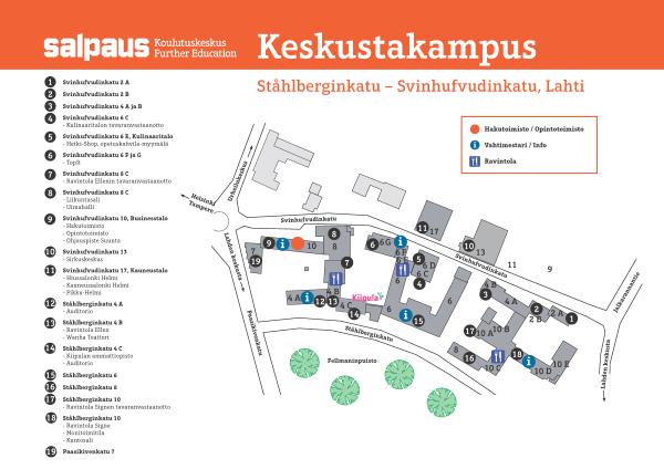 Lahden keskustakampuksen kartta kuvana.