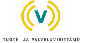 Tuote- ja palveluvirittämö -hankkeen tunnuslogo. Keltaisten kaarien sisällä V-kirjain.